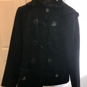 Le chateau black wool pea coat XS